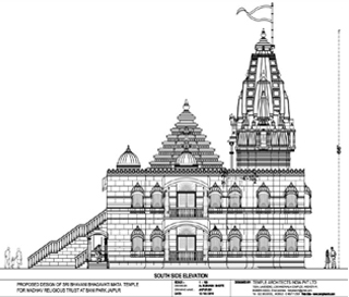 side elevation of sri bhawani bhagawatimata temple designed by temple